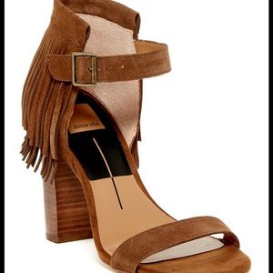 Dolce Vita Brown Nancy Fringe Sandal Heel